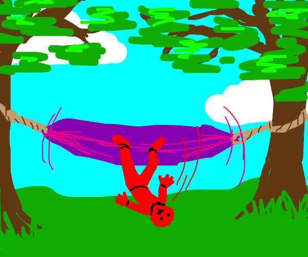little red man falls out of a hammock