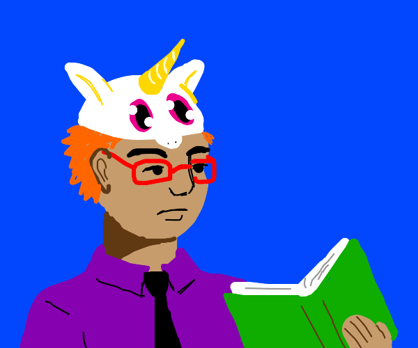 Man with glasses in unicorn hat reads book