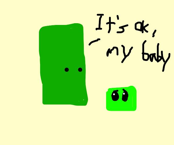 green rectangular blob reassuring its baby