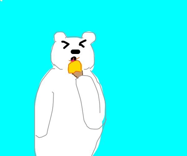polar bear licking acidic ice cream