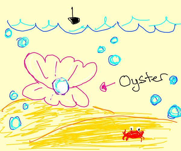 Under the sea, in an oyster, is a pearl