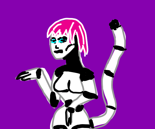 robot girl with cat tail