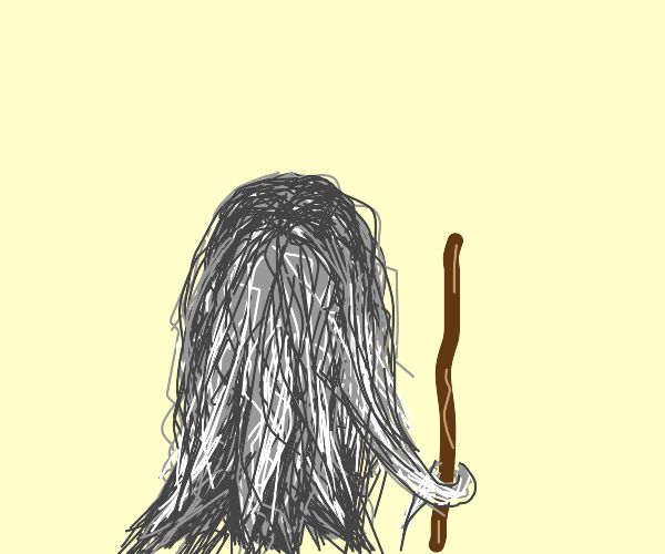 gray and white hair, with a walking stick