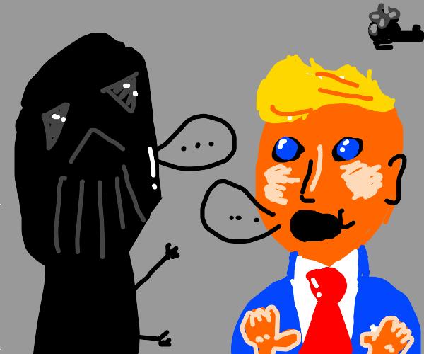 Darts Vader talking to Donald Trump