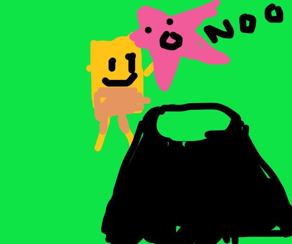spongebob sacrifices patrick to volcano