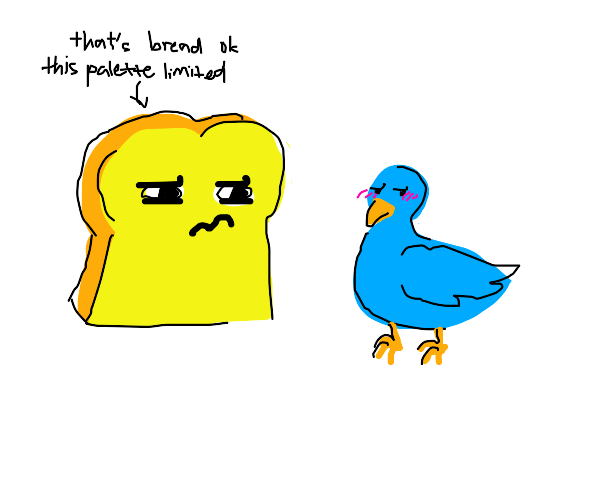 bread with a face observes a flustered bird