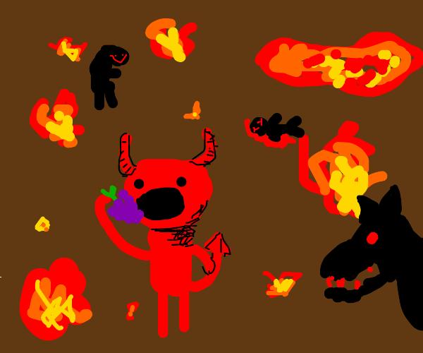 Satan eating grapes in hell