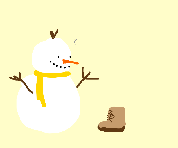 A snowman looking at a shoe