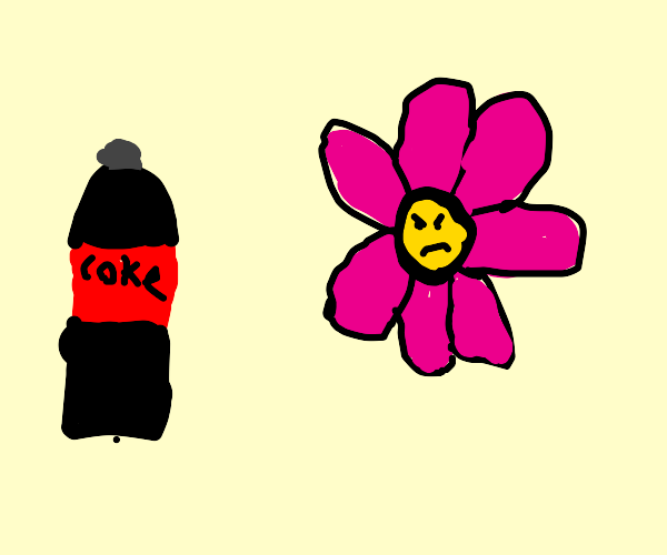 Flower (BFDI?) is angry at a Coca-Cola bottle