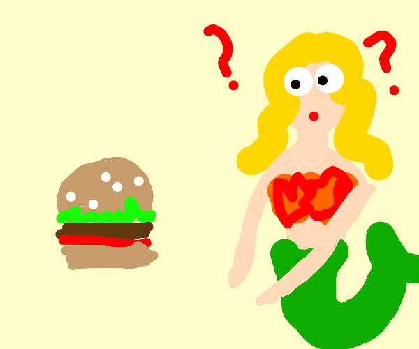 mermaid confused by burger