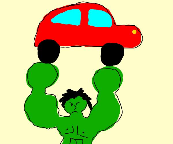 hulk holds car