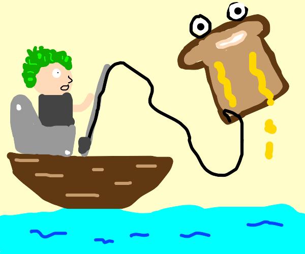 Man fishing a toast