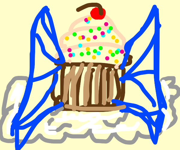 cupcake but it has blue wings on a cloud