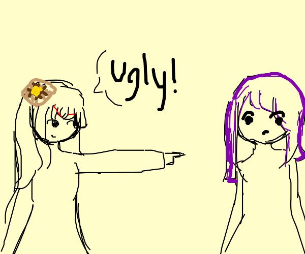Waffle hair girl calls purple hair girl ugly