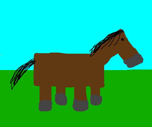 Minecraft horse wears tophat
