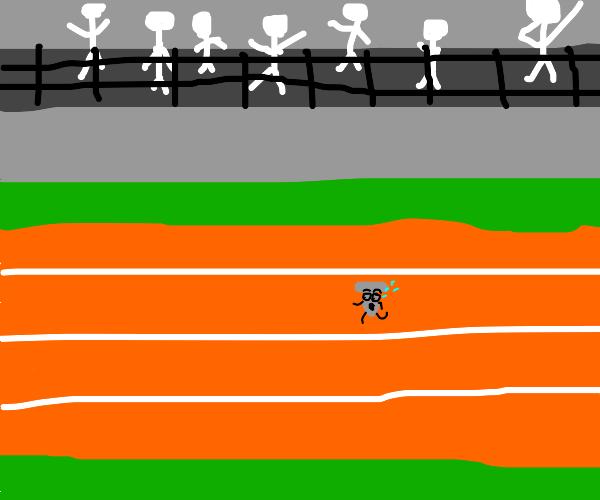 A scared nail running a marathon