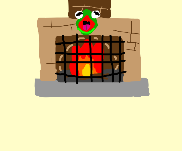 Kermit head at the fireplace