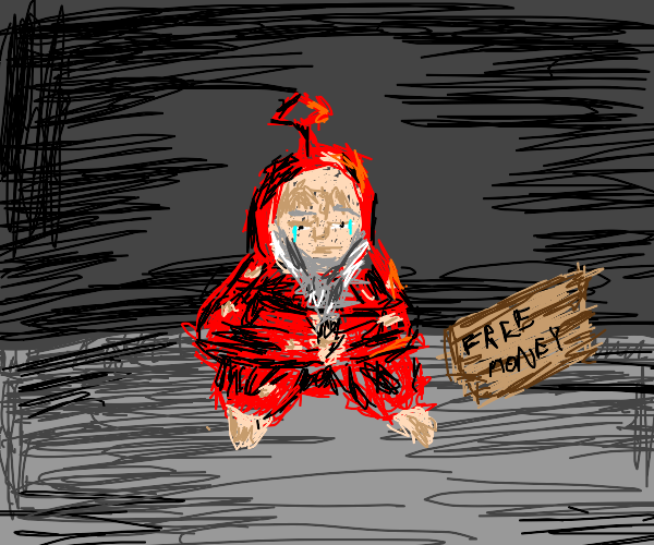 Red teletubby is now a hobo