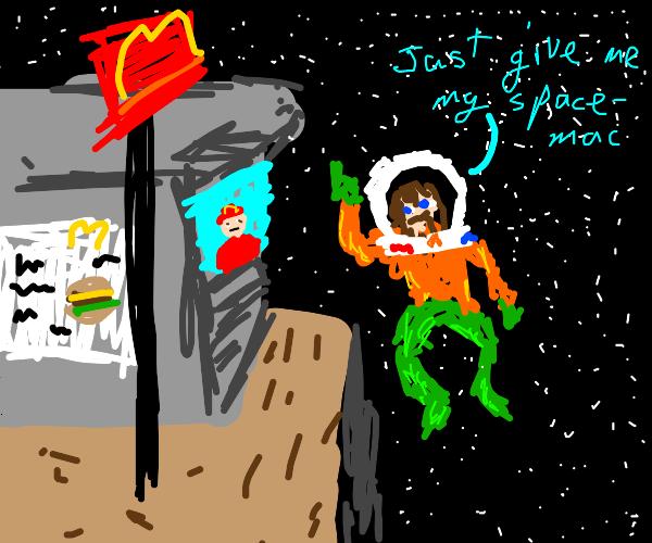 Aquaman the astronaut buys a big mac.