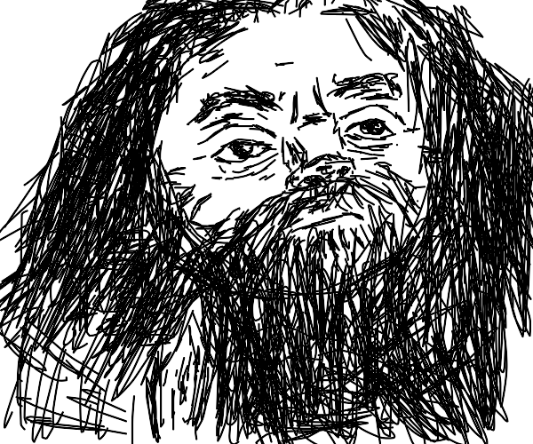 live-action Hagrid (black n white)