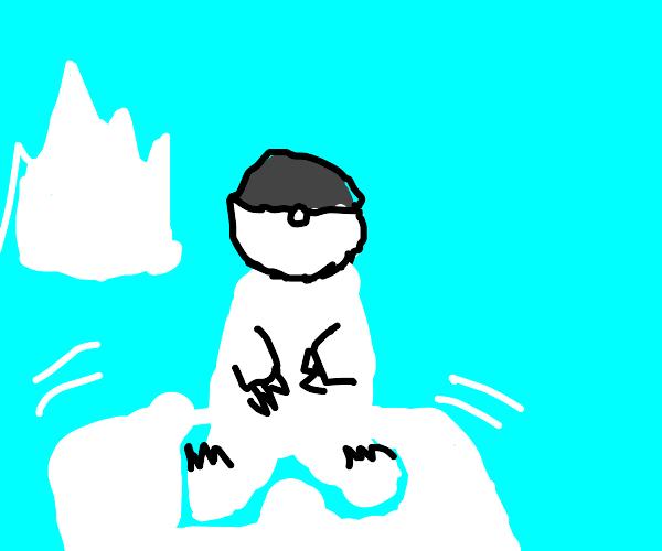 polar bear caught in grey pokeball
