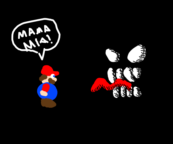 A scary face in the dark spooks Mario