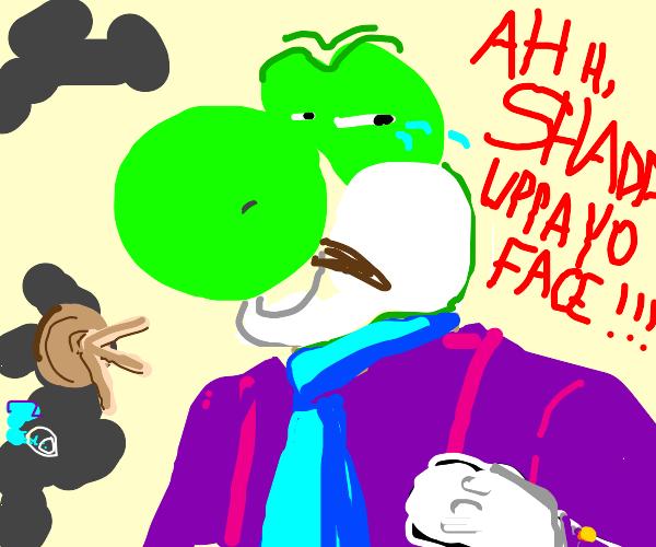 Yoshi is having a temper tantrum