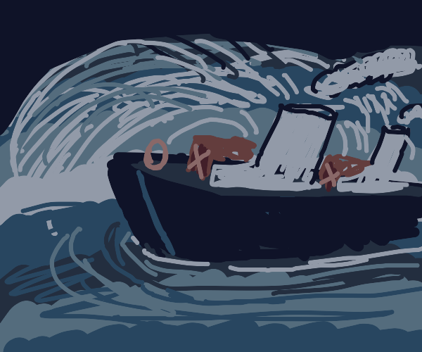 Wave crashes into boat