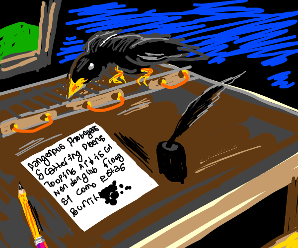 A raven on a writing desk