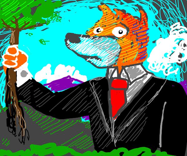 Giant fox picking a tree