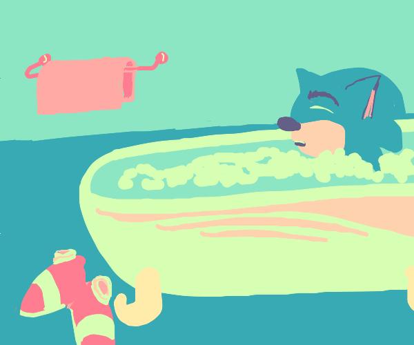 sonic taking a bath