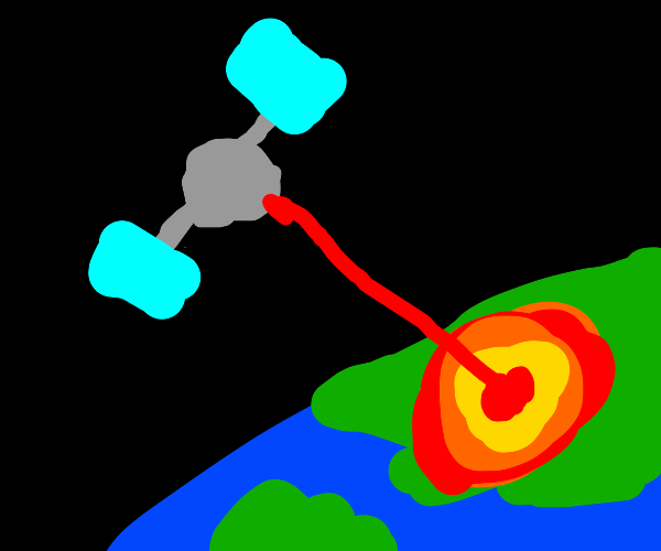 Satellite shooting a laser beam at earth