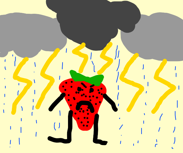 A strawberry in a lightning storm
