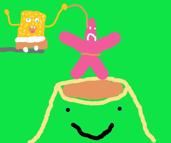 Patrick is sacrificed to the volcano god