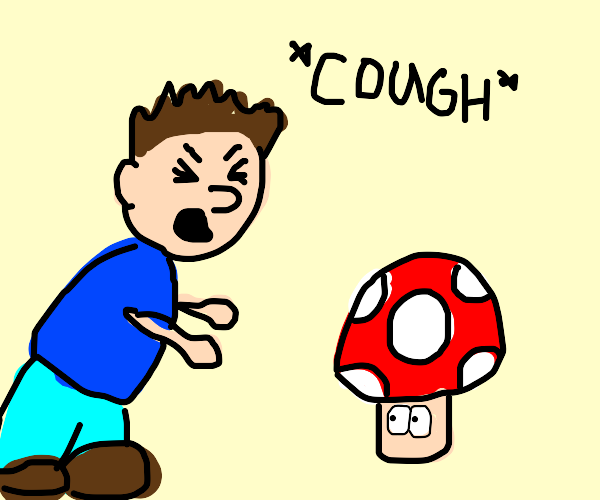 Man angrily coughs at red mushroom