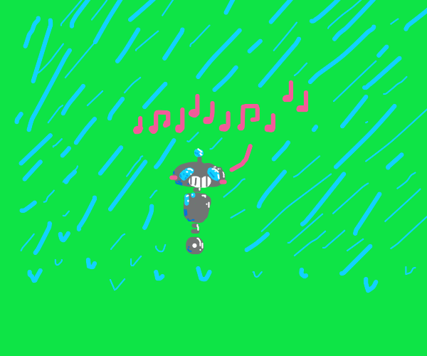 robot singing in the rain