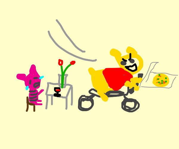 Winnie the Pooh steals Piglet's pizza