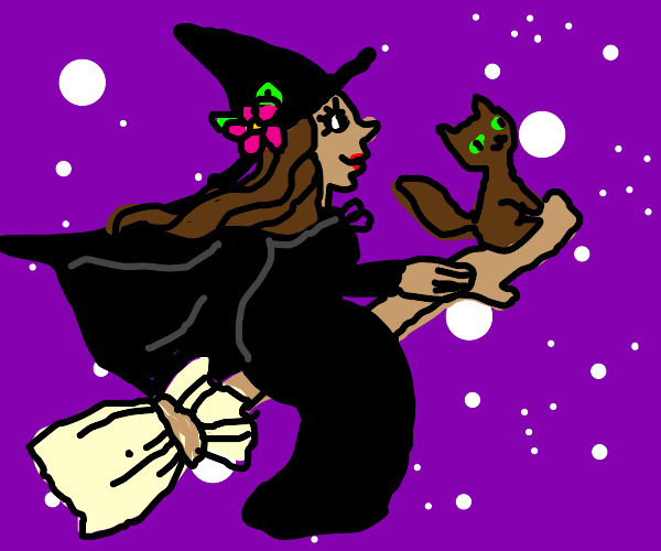 A cute witch girl in a cloak