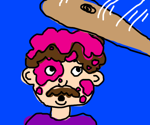 Pink stained man about to be hit with a bat