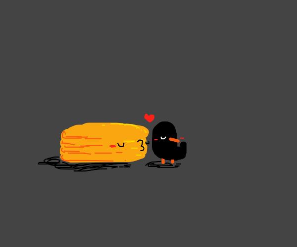 Pancakes kissing Raven
