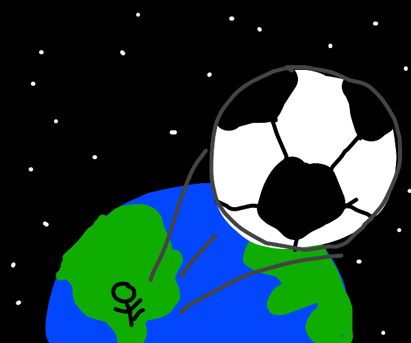 AND THE KICK SENDS THE BALL FLYING TO SPACE!