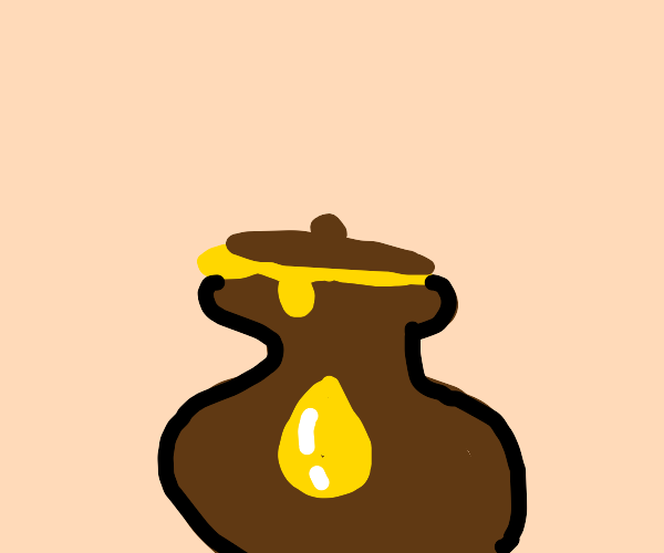 Brown jar with lid, overflowing with honey