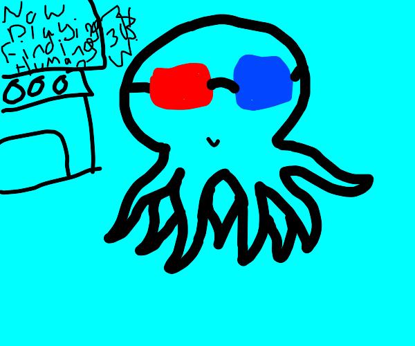 An ocopus seeing a 3D film