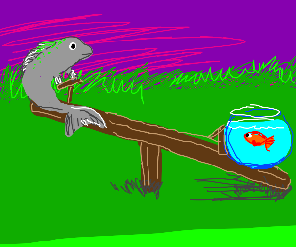 a fish on a seesaw with a goldfish