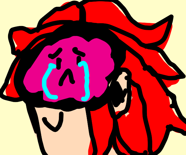 The brain of the red-haired guy is sad
