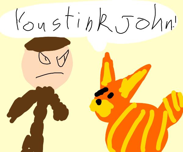 Garfield thinks that owner John stinks