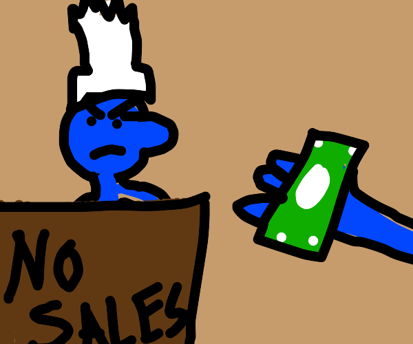 smurf gets mad because his sales r going down