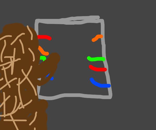 brown creature sorts wires on the skeld