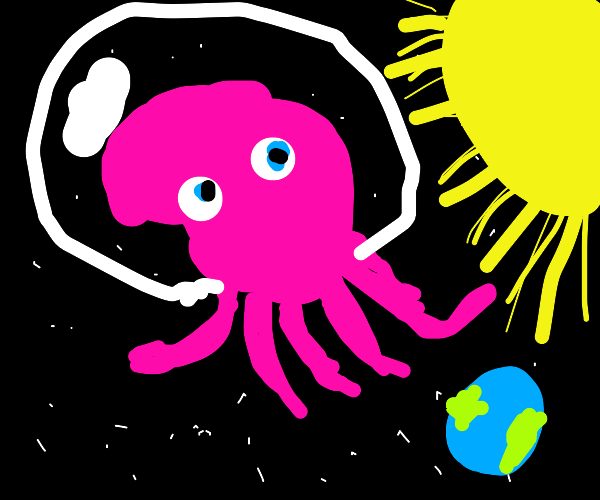 a pink octopus in space!