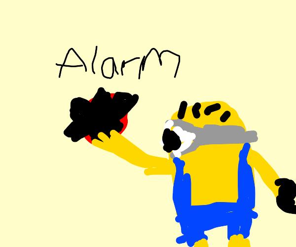 Minion sounding an alarm